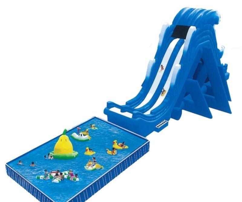 河南充气水池水上乐园龙头水滑梯超好玩