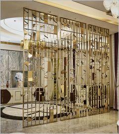 轻奢不锈钢屏风 酒店金属装饰 客厅玄关隔断加工定制