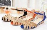 14夏新款千百麗金真皮坡跟魚嘴涼鞋女平底大碼真皮女鞋