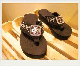 美国西部牛仔EVA拖鞋牛反绒皮面配透明水钻十字架扣 ** 女鞋