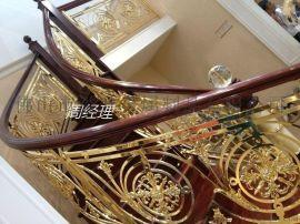 晋江市豪华会所阳台铝雕花电镀仿金护栏订做