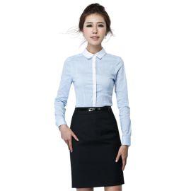青岛女式工作服 即墨衬衫定做 夏季薄女式修身显瘦衬衣职业装