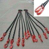 起重鏈條吊索具 G80錳鋼鏈條組合吊索6.4噸4腿2米 2T吊鉤 可定製