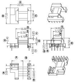EPC17高频变压器骨架 卧式5+2脚 有配套磁芯销售