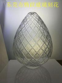 **玻璃刻花灯罩 纯手工雕刻 可定制
