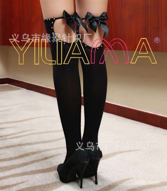 厂家直供新款情趣丝袜批发时尚蝴蝶结烫钻包边天鹅绒长统袜大腿袜