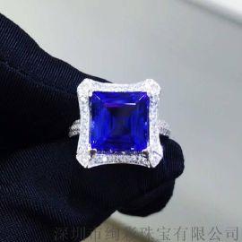 绚彩珠宝18K金公主方坦桑石戒指8.09克拉坦桑石裸石颜色好精度干净手寸14可以改
