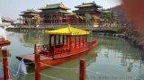 辽宁抚顺中式木船厂家出售旅游木船手划船单亭船