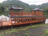 大型水上餐饮木船多少钱 福建景区观光餐饮船厂家