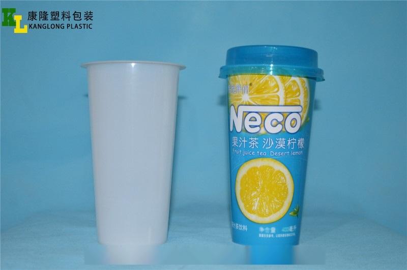 一次性杯子,PP注塑杯子,果茶饮料杯,模内贴标杯子
