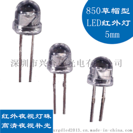 供应5MM草帽120度鼎元850红外发射管车载监控上   红外LED