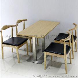 简约实木餐桌,酒店实木餐桌现代饭店餐桌椅组合