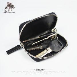 卡柏丽钥匙包男士真皮多功能车锁匙包碳纤维编织拉链迷你小零钱包
