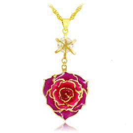 黛雅镀金真玫瑰花项链花朵吊坠饰品首饰(款式三) 厂家批发