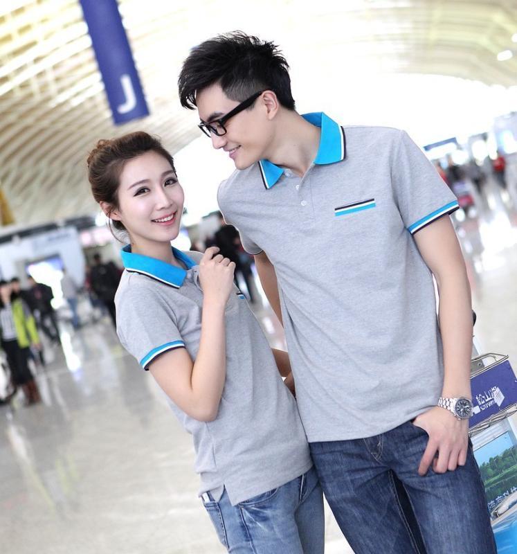撞色領短袖T恤衫翻領體恤男女情侶裝夏裝T恤來圖來樣定製店標LOGO