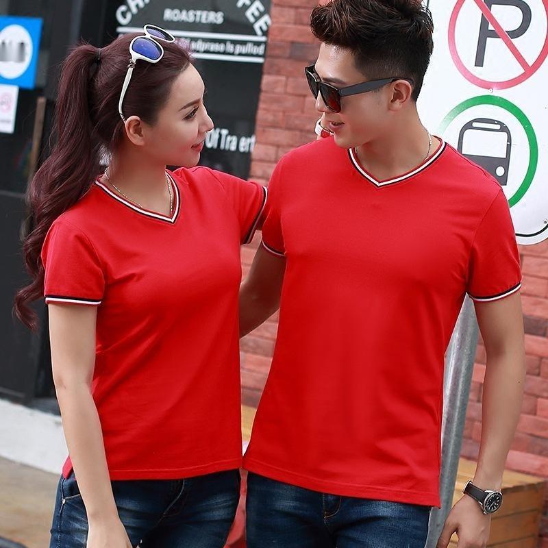 優質彈力棉夏季短袖V領T恤男女休閒情侶衫可訂製刺繡企業店面LOGO