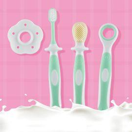 寶寶乳牙刷矽膠軟毛牙刷三合一嬰幼兒訓練刷牙套裝