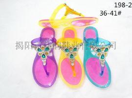 揭阳厂家供应女款滴油多层色水晶拖鞋