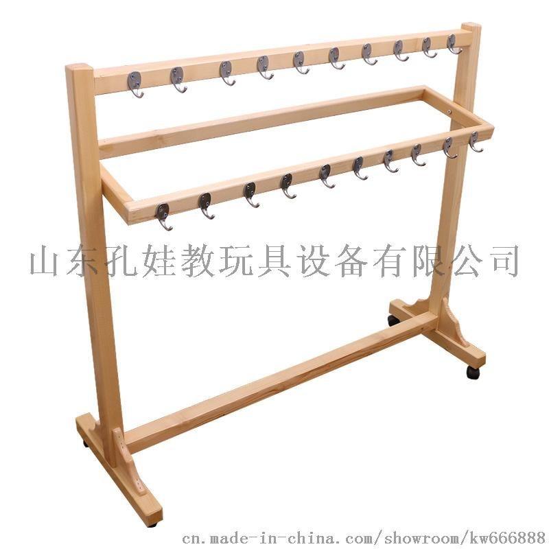 幼儿园实木毛巾架可移动儿童早教专用置物架子不锈钢挂钩木质挂架