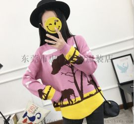 便宜女士毛衣库存服装韩版女士针织衫套头毛衣