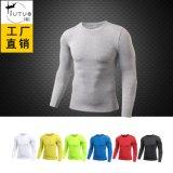 純色男士PRO緊身T恤健身運動跑步彈力排汗速幹長袖衫衣服T1302