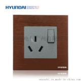 現代開關插座hyundai新款熱賣開關插座K70系列一開單控+三極插座