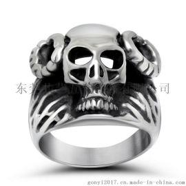 厂家现货直销 钛钢创意哥特骷颅鬼羊头戒指 不锈钢朋克食指饰品男