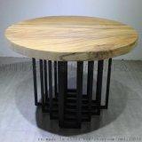 美式复古实木餐桌椅,饭店6人圆桌,包房餐厅桌子