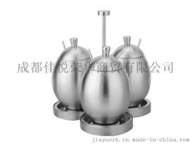 304不鏽鋼調味瓶罐 創意蛋形帶勺調料盒 廚房用品