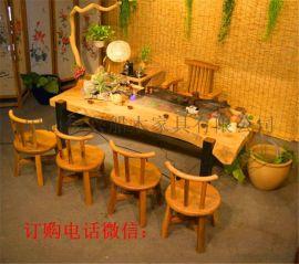 老船木茶桌简约实木家具客厅茶台茶几博古架
