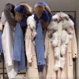 反季促銷派克服長款超大狐狸毛領羽絨服 品牌女裝批發