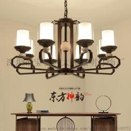 新中式吊灯禅意客厅大厅吊灯云石铁艺吊灯茶楼餐厅