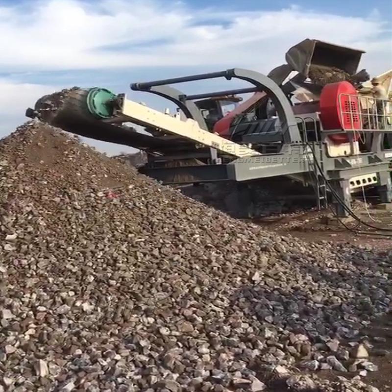 高产量移动式破碎机 新型建筑垃圾移动破碎站