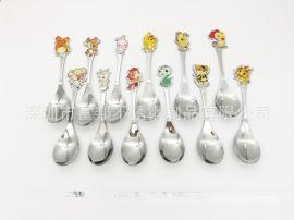 高檔不鏽鋼12生肖卡通勺兒童生肖湯匙飯勺滴膠生肖圖案勺