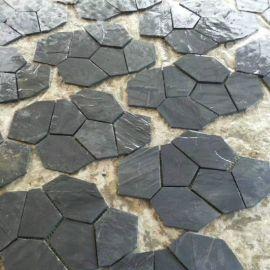青灰色碎拼文化石 灰色冰裂纹 毛石铺地砖园林别墅文化石厂家