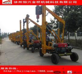 路面拔桩护栏钻孔机 徐州道路安保施工用小型打桩机