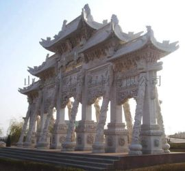 石材牌坊石材牌楼大型石材雕塑雕刻山東聚财泉石材公司
