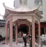 廠家直銷曲陽園林雕塑3米直徑晚霞紅石涼亭