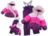 俄羅斯外貿冬季戶外加絨加厚兒童滑雪服套裝女童保暖滑雪服零下30度