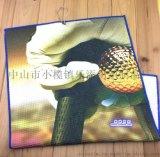 廠家訂製鳳梨格高爾夫巾 數碼熱轉印廣告健身掛巾