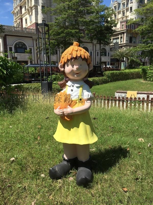 宜昌花园丰收小孩摆件价格 湖北卡通玻璃钢雕塑批发