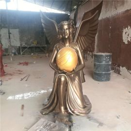 玻璃钢天使摆件 仿古铜人物雕塑 户外欧式天使塑像造型定制