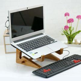 創意新款竹木筆記本電腦散熱支架 懶人櫸木平板電腦桌面收納架