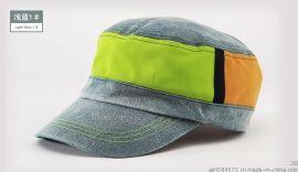 【厦门帽子定制】牛仔平顶帽,洗白牛仔帽,糖果色平顶帽,牛仔拼接帽logo设计