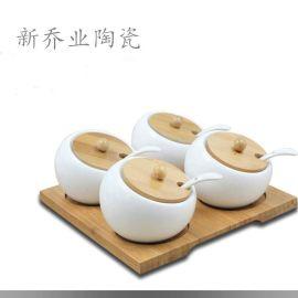 廠家直銷歐式陶瓷調味罐創意家居廚房用品平面調味瓶搭配竹架四件套