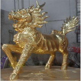 玻璃钢电镀 麒麟贴金箔 动物雕塑镀金 -树脂麒麟电镀定制