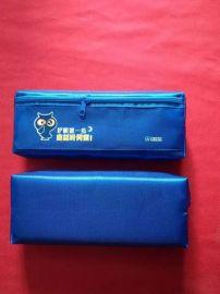 西安简约帆布、牛津布创意双开笔袋定制印刷LOGO 文具收纳包可爱风男生女生
