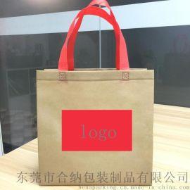 新型一体成型环保手提袋订制 无纺布风琴袋 可加印logo 厂家订制