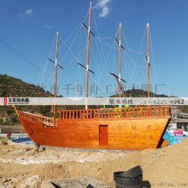 巨型海盗船实木手工打造 20米大型木质景观船