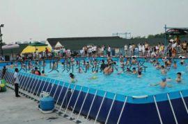 河南大型的移動型的支架遊泳池加上好看的水滑梯